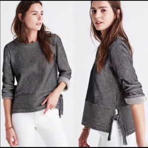 Madewell French Rib Side-Tie Pullover, Black